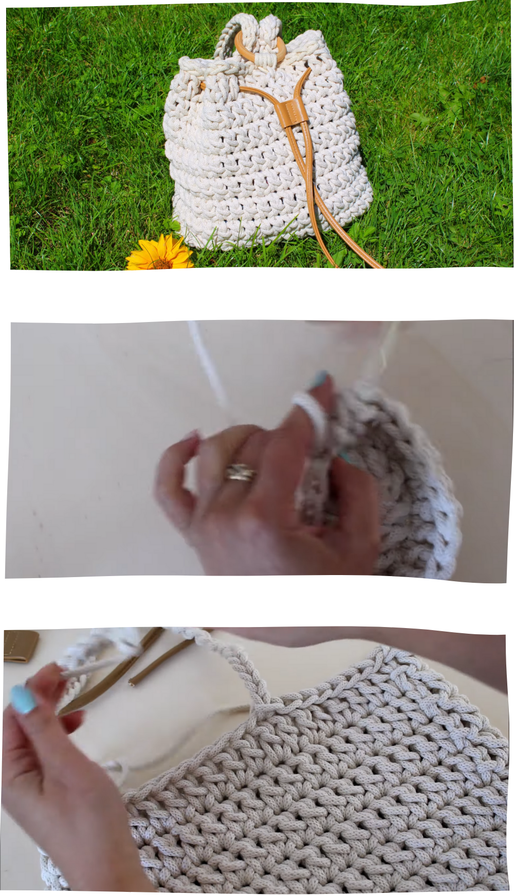Boho bag with wooden ring crochet tutorial Free Video Tutorial