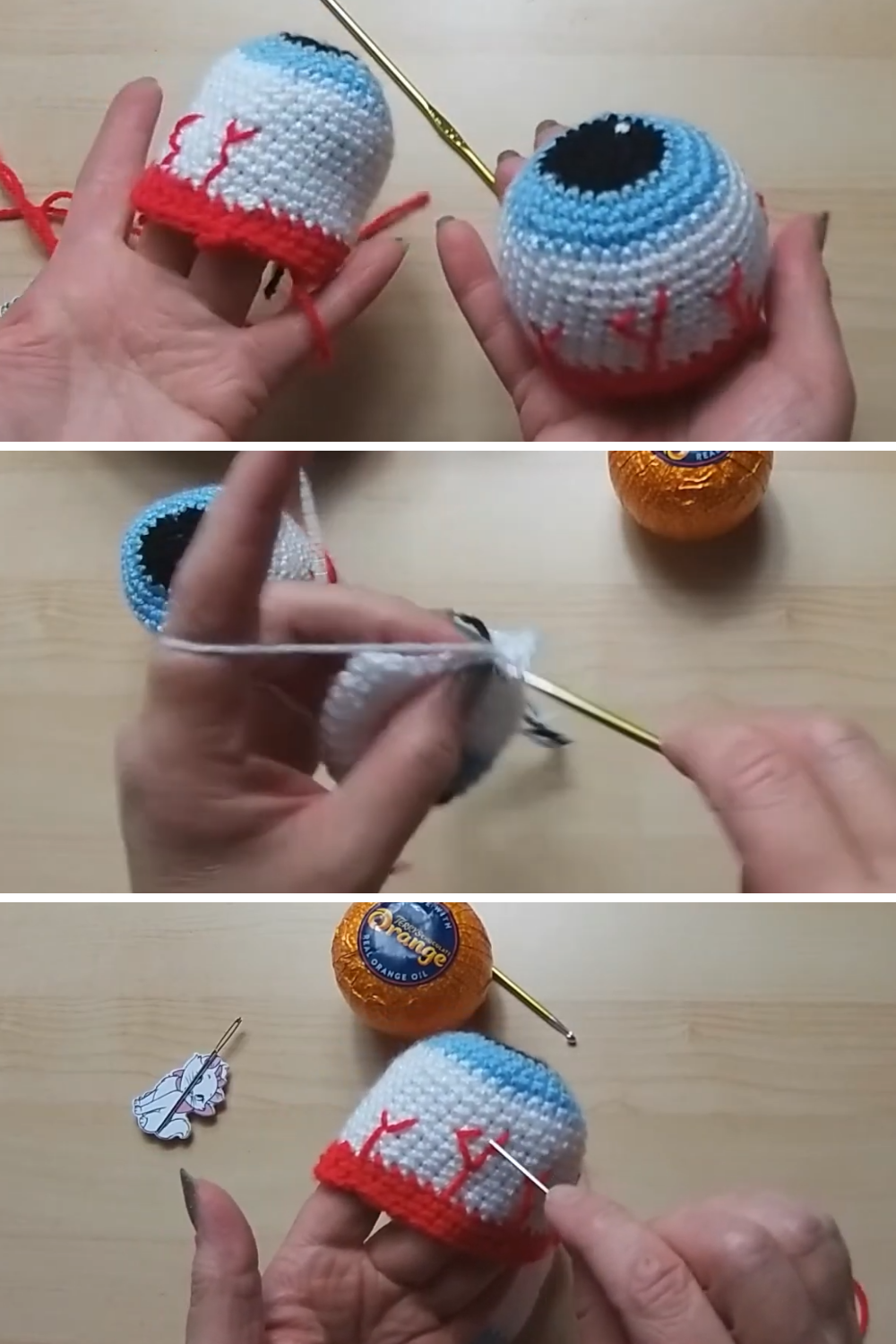 Crochet spooky eyeball chocolate orange cover Free Video Tutorial